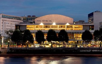 View of the Royal Festival Hall from across the river at night