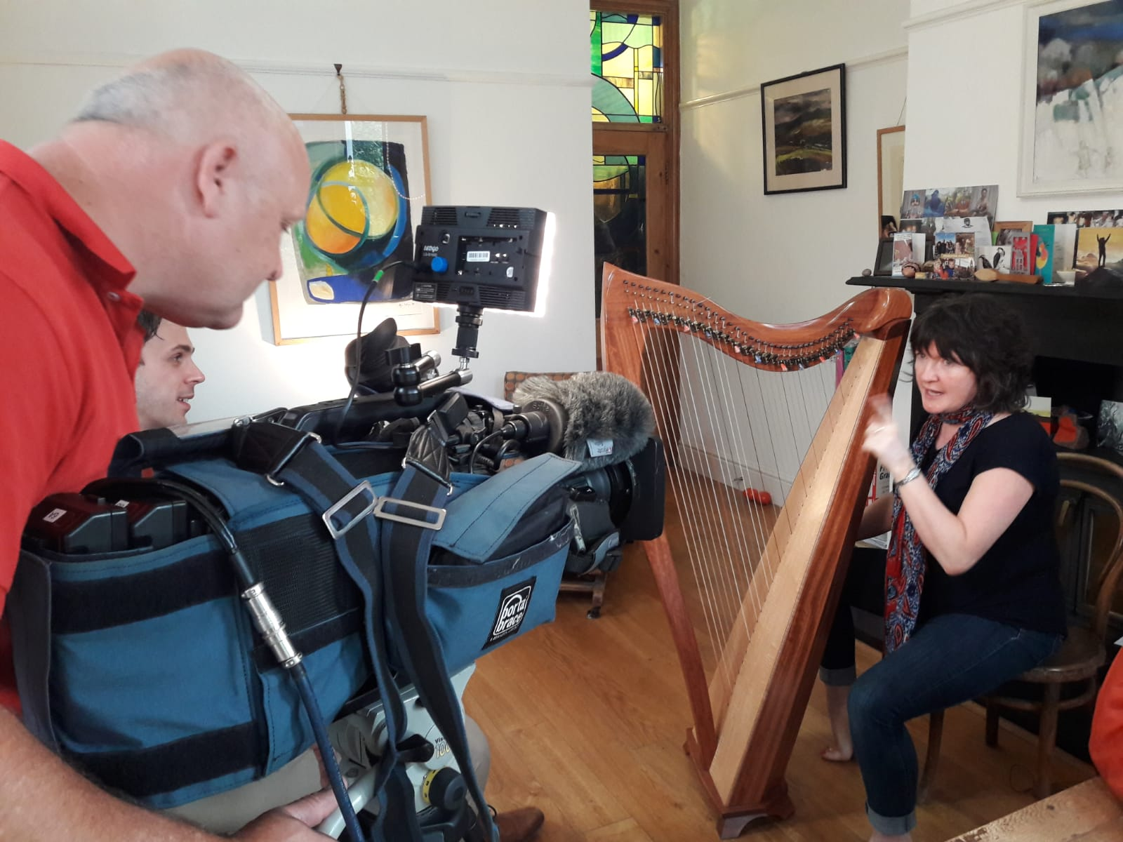 Filming for S4C's Heno