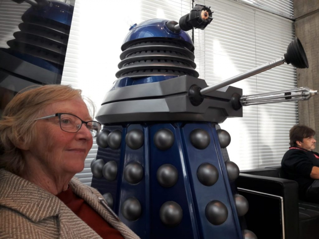Lynne Denman meet a Dalek at the BBC Radio Cymru studio