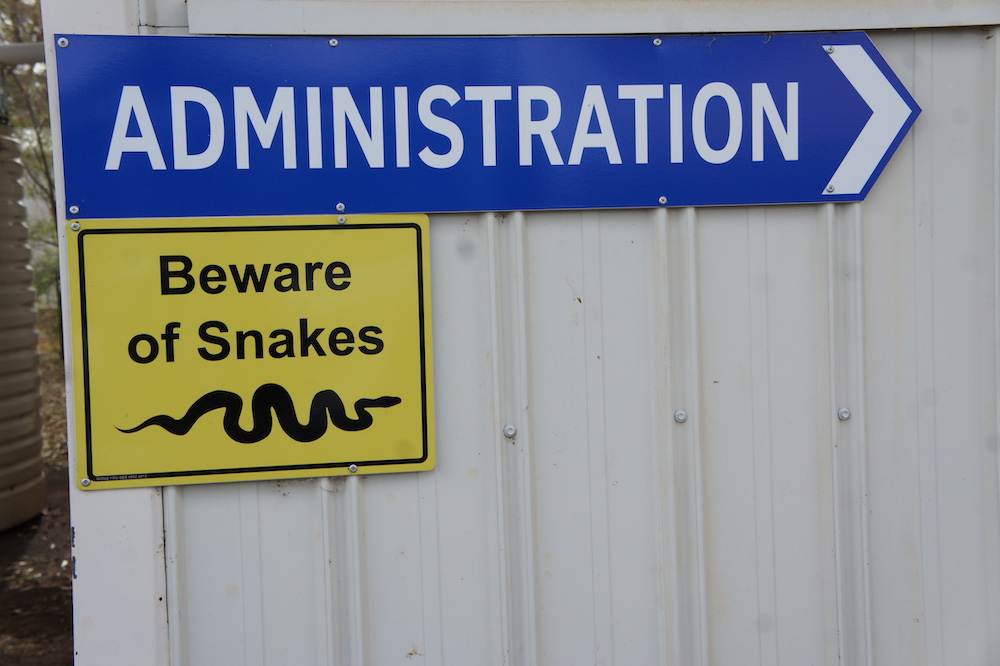 Beware of snakes sign at Parkes Telescope