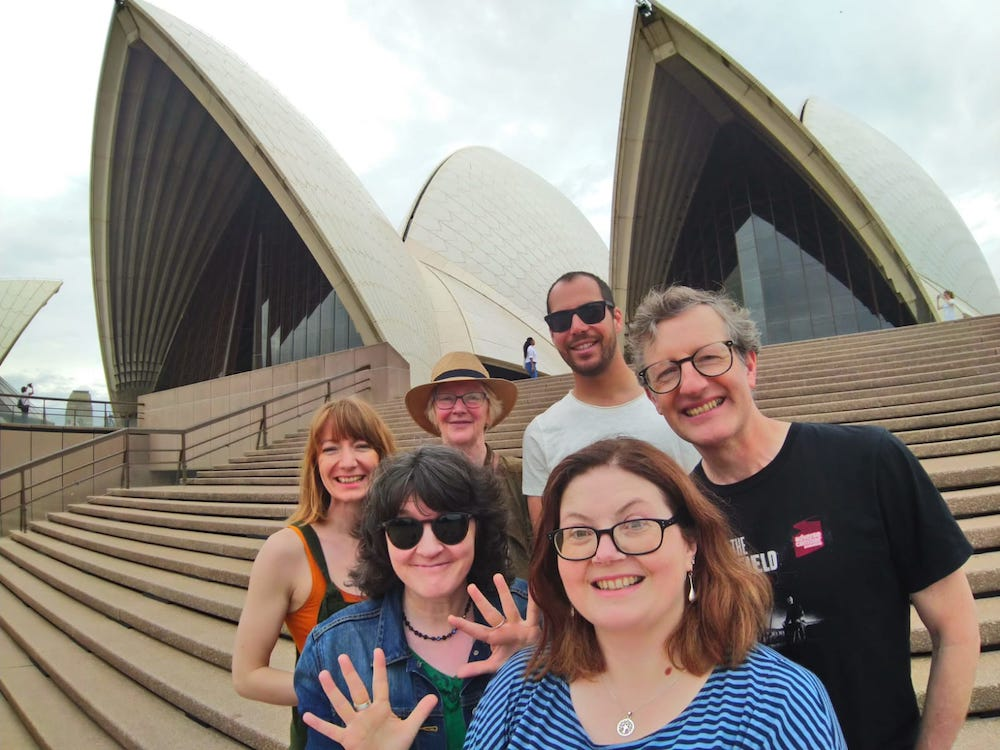 Dreaming the Night Field team outside Sydney Opera House