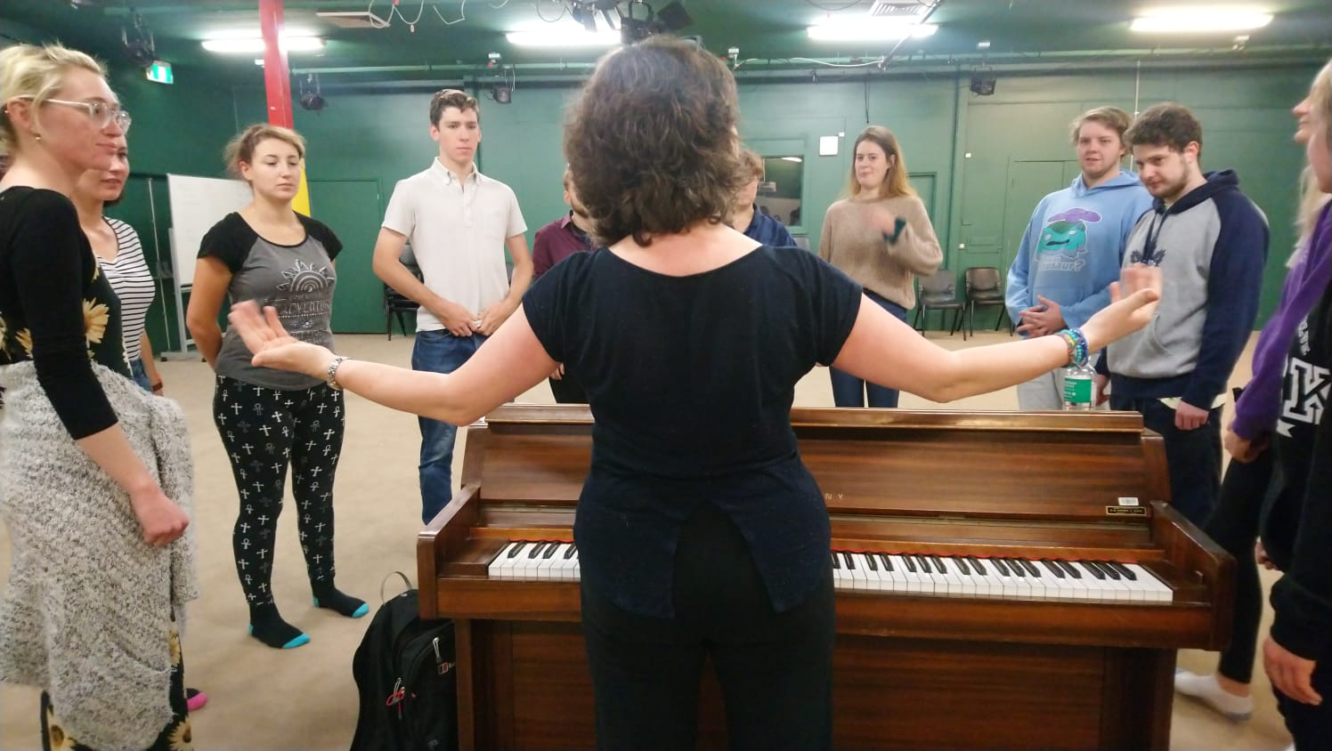 Stacey delivering a workshop for Charles Sturt University Performing Arts students