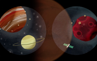 an illustration of planets and a satellite