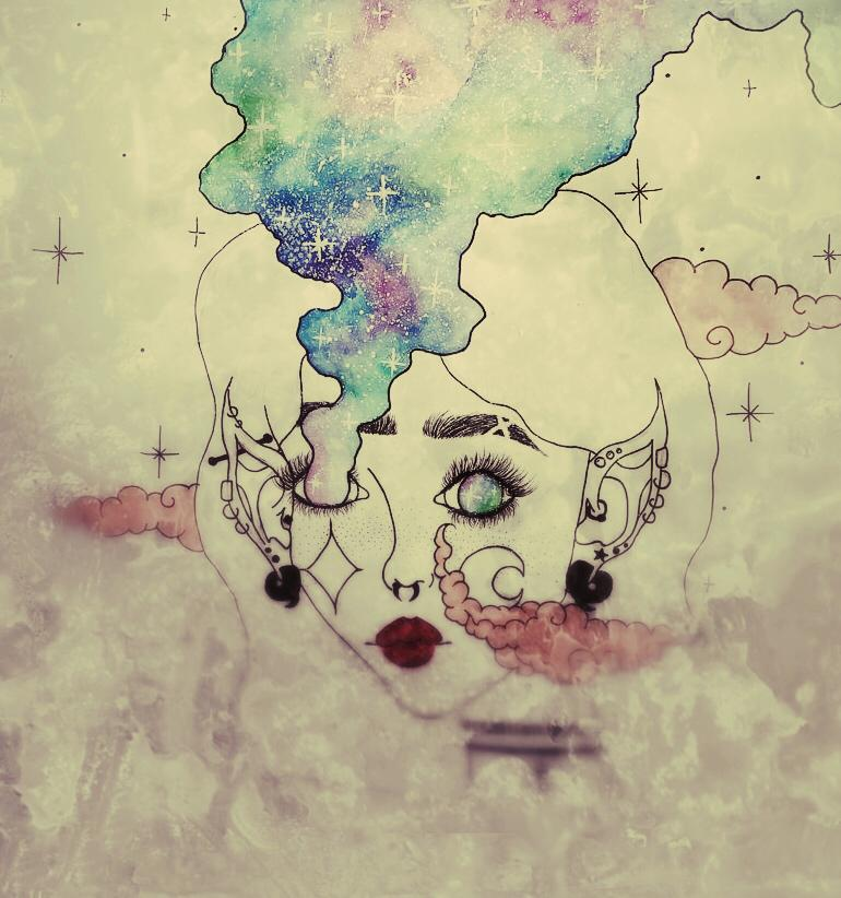 a dreamy drawing of a woman's face