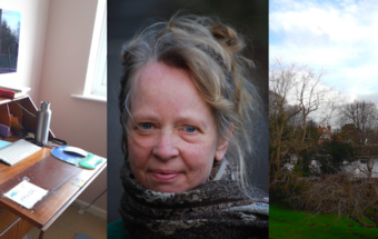 A montage of the writer Kate Hamer, her desk and view from her window